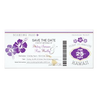 Sauvez la carte d'embarquement de date en Hawaï Carton D'invitation 10,16 Cm X 23,49 Cm