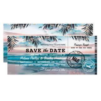 Sauvez la carte d'embarquement tropicale de carton d'invitation  10,16 cm x 23,49 cm