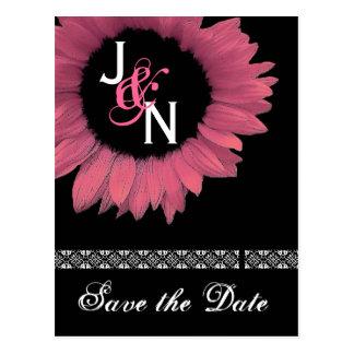 Sauvez la carte postale de date - tournesol rose