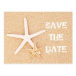 Sauvez la carte postale d'étoiles de mer de date