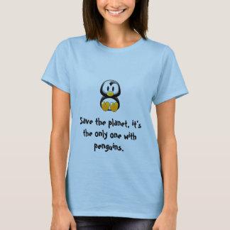 sauvez la pièce en t de pingouin de planète t-shirt