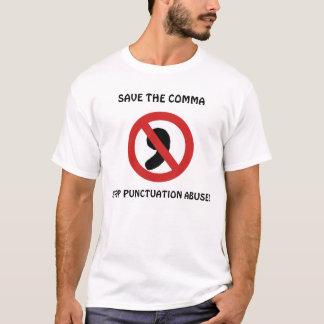 Sauvez la virgule - arrêtez le T-shirt d'abus de