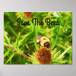 Sauvez l'affiche d'abeilles poster