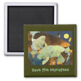 Sauvez l'aimant de lamantin magnet carré