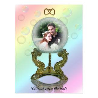 Sauvez l'annonce de mariage de boule de cristal de carte postale