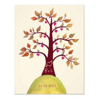 Sauvez l'arbre de mariage de automne de date carton d'invitation 10,79 cm x 13,97 cm