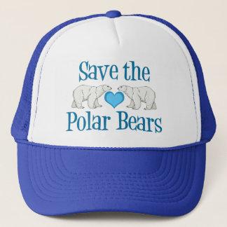 Sauvez le blanc bleu mignon d'ours blancs casquette