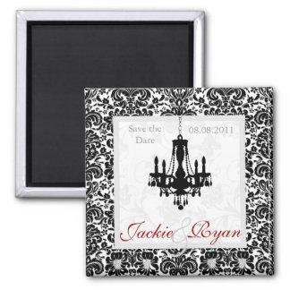 Sauvez le blanc de noir de lustre d'aimant de date magnet carré