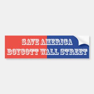 Sauvez le boycott Wall Street de l'Amérique Adhésif Pour Voiture