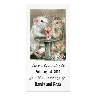 Sauvez le carte photo de rat de mariage de date photocartes personnalisées