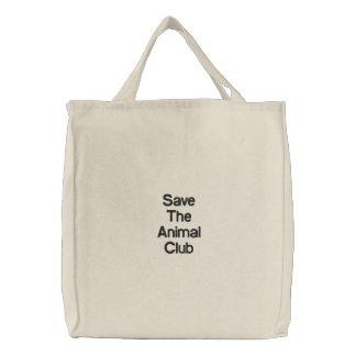Sauvez le club animal sac brodé