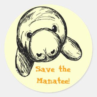 Sauvez le lamantin ! sticker rond