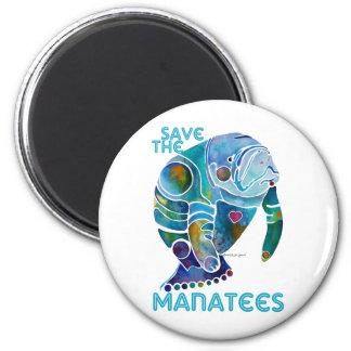 Sauvez le lamantin magnet rond 8 cm