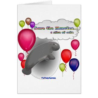 Sauvez le lamantin. une tranche de gâteau carte de vœux
