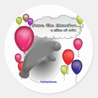 Sauvez le lamantin. une tranche de gâteau sticker rond