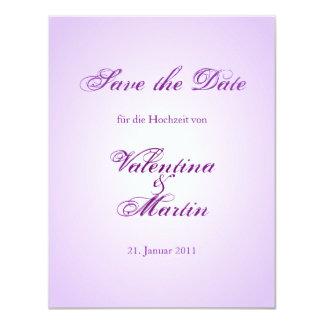 Sauvez le lila Kalligraphie de Karte de date Carton D'invitation 10,79 Cm X 13,97 Cm