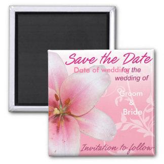 Sauvez le lis de rose de date magnet carré