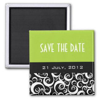 Sauvez le magnet de mariage de date dans des remou magnet carré