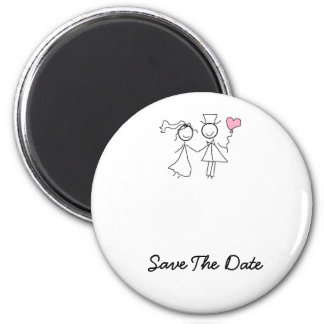 Sauvez le magnet de mariage de date magnet rond 8 cm