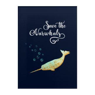 Sauvez le Narwhals. Aquarelle, art de calligraphie