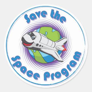 Sauvez le programme spatial adhésifs ronds