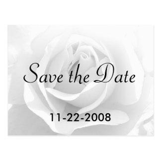 Sauvez le rose blanc de date carte postale