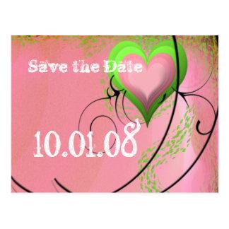 Sauvez le rose de date et le coeur médiéval vert carte postale