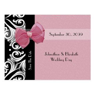 Sauvez le ruban parisien de rose de mariage de carte postale