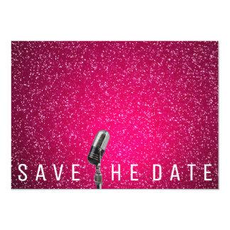 Sauvez le scintillement rose lumineux Microfone de Carton D'invitation 12,7 Cm X 17,78 Cm