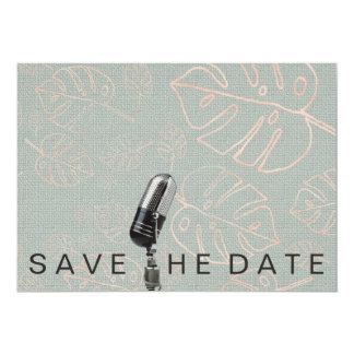 Sauvez le scintillement rose vif Microfone de date Carton D'invitation 12,7 Cm X 17,78 Cm