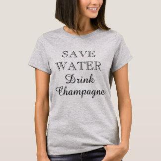 SAUVEZ le T-shirt drôle de CHAMPAGNE de BOISSONS