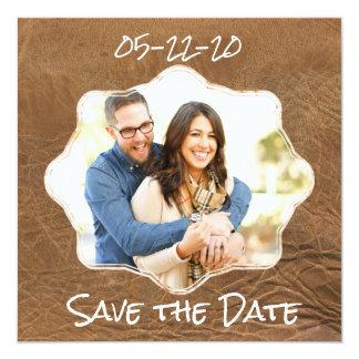 Sauvez le thème de cuir de date carton d'invitation  13,33 cm