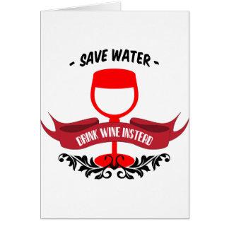 Sauvez le vin de boissons de l'eau carte de vœux