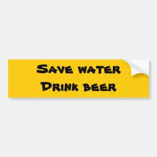 Sauvez l'eau - bière de boissons autocollant pour voiture