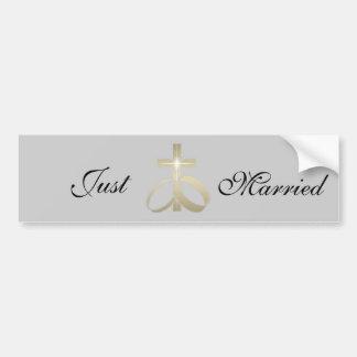 Sauvez les anneaux et la croix de mariage d'or de  autocollant de voiture