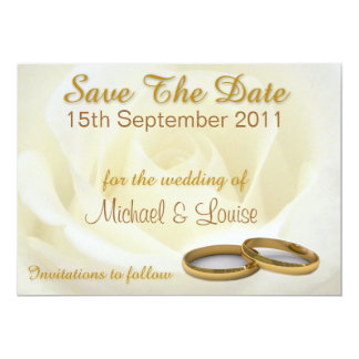 Sauvez les cartes de date - le rose blanc et les carton d'invitation  12,7 cm x 17,78 cm