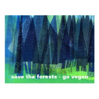 sauvez les forêts - vont le végétalien carte postale