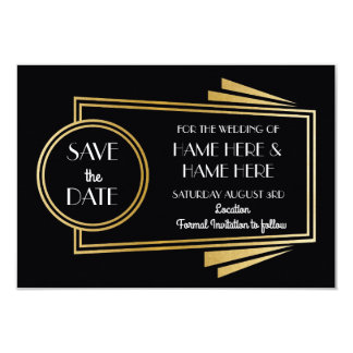 Sauvez les invitations d'or de noce d'art déco de