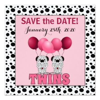 Sauvez les jumeaux de la date | dans le Dalmate Carton D'invitation 13,33 Cm