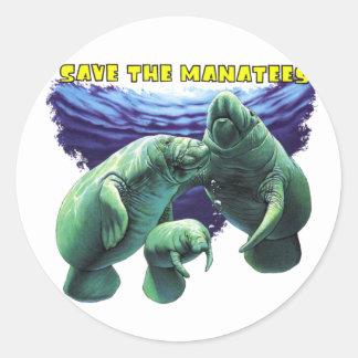 Sauvez les lamantins autocollants ronds