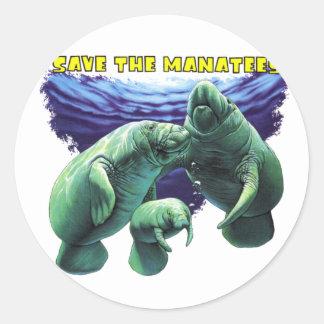 Sauvez les lamantins autocollant rond