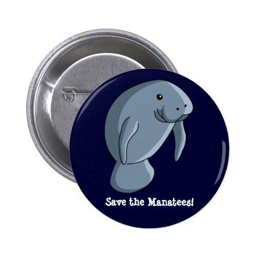 Sauvez les lamantins ! pin's avec agrafe