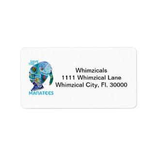 Sauvez les lamantins bleus étiquettes d'adresse