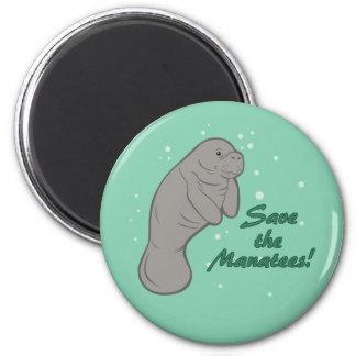 Sauvez les lamantins ! magnet rond 8 cm