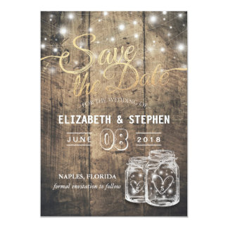 Sauvez les lumières en bois rustiques de ficelle carton d'invitation  12,7 cm x 17,78 cm