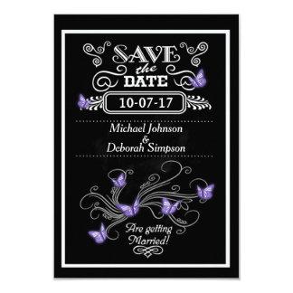 Sauvez les papillons de pourpre de tableau de carton d'invitation 8,89 cm x 12,70 cm
