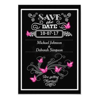 Sauvez les papillons de rose de tableau de cartes carton d'invitation 8,89 cm x 12,70 cm
