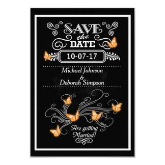 Sauvez les papillons d'orange de tableau de cartes carton d'invitation 8,89 cm x 12,70 cm