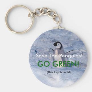 Sauvez les pingouins porte-clé rond