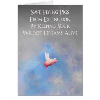 Sauvez les porcs de vol carte de vœux
